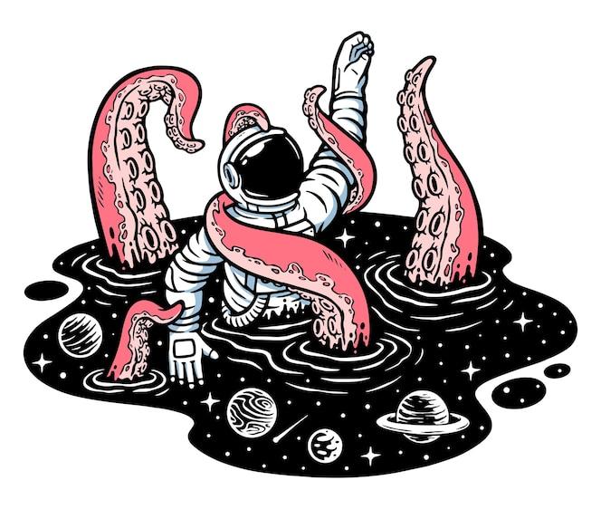 Ilustração de monstros espaciais atacando astronautas