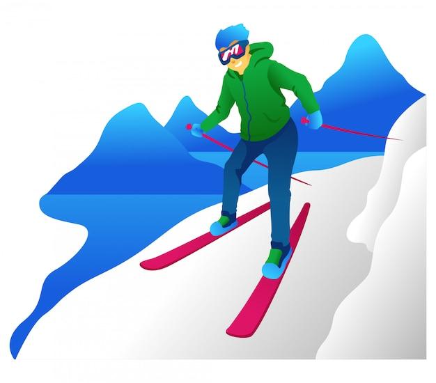 Ilustração de montanha de esqui
