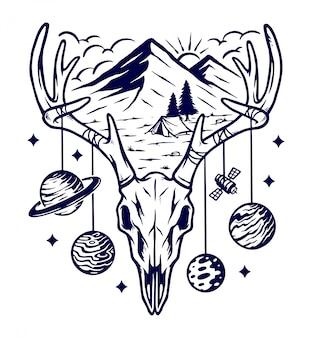 Ilustração de montanha e universo