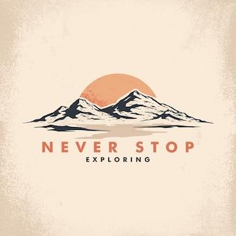 Ilustração de montanha retrô para o design de sua camiseta
