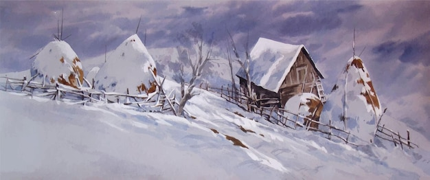 Ilustração de montanhas com aquarela coberta de neve