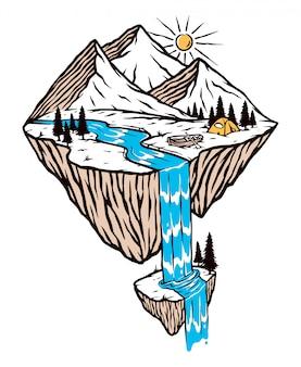 Ilustração de montanhas e cachoeiras