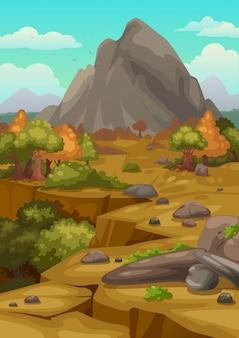 Ilustração, de, montanhas, paisagem, fundo