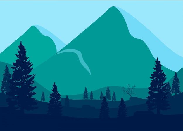 Ilustração, de, montanhas, paisagem
