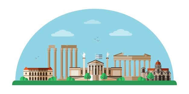 Ilustração de monumentos mundialmente famosos da grécia, paisagem urbana de atenas.