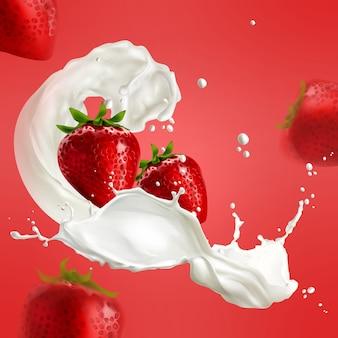 Ilustração de morango realista em respingos de leite em fundo vermelho