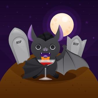 Ilustração de morcego de halloween com sepulturas