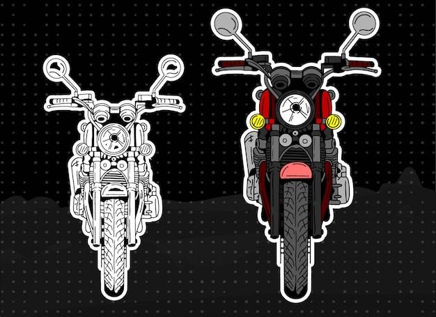 Ilustração de moto frente e linha