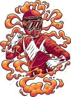 Ilustração de motociclista com capacete e fumaça