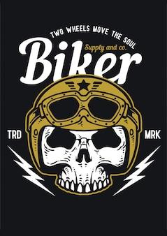 Ilustração de motociclista de caveira usar capacete com cores vintage