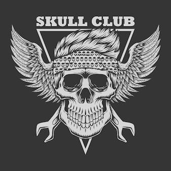 Ilustração de motociclista de clube de caveira