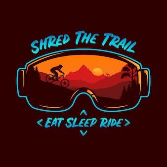 Ilustração de mountain bike com montanhas de ciclistas e natureza selvagem