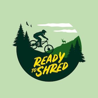 Ilustração de mountain bike com um rider montanhas e pinheiros