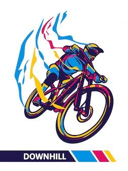 Ilustração de movimento de bicicleta de montanha em declive