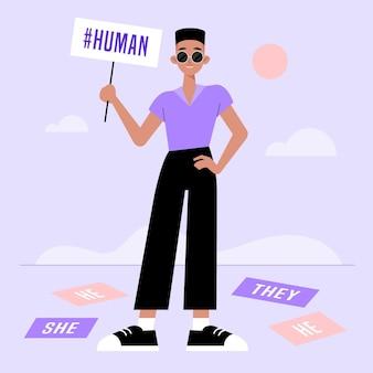 Ilustração de movimento neutro de gênero