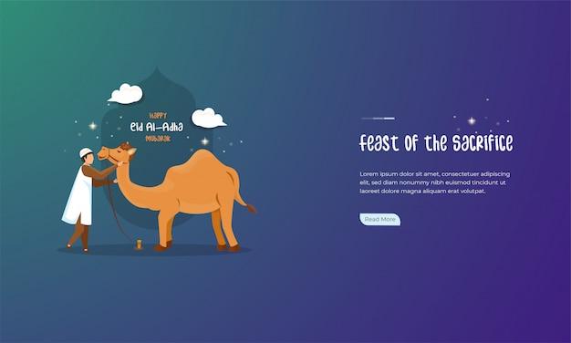 Ilustração de muçulmano com seu camelo para comemorar o conceito de eid al-adha