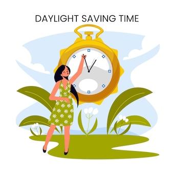 Ilustração de mudança de horário de primavera desenhada à mão com mulher e relógio