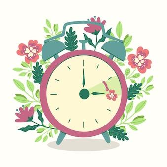Ilustração de mudança de horário de primavera desenhada à mão com relógio e flores