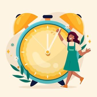 Ilustração de mudança de tempo de primavera com relógio e mulher