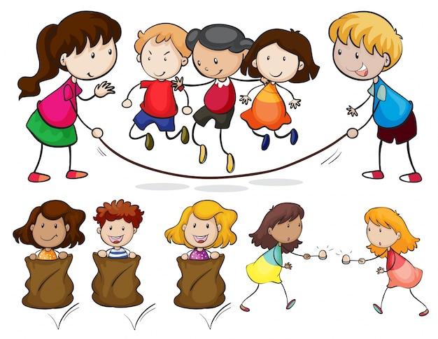 Ilustração de muitas crianças brincando