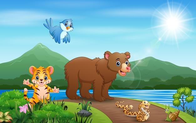 Ilustração de muitos animais andando na estrada