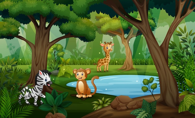 Ilustração de muitos animais brincalhão perto da lagoa