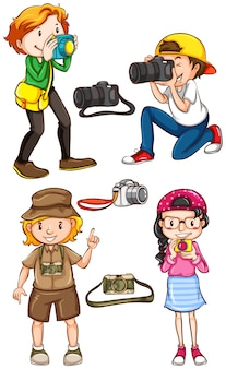 Ilustração de muitos fotógrafos fotografando