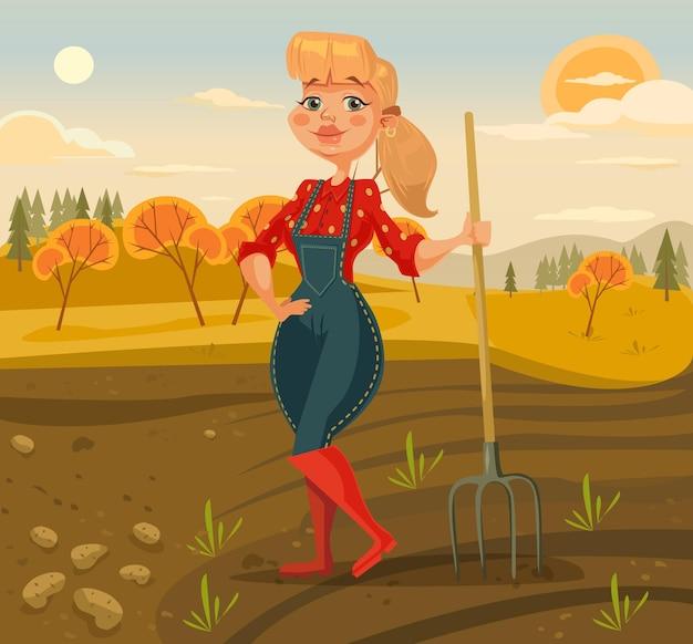 Ilustração de mulher agricultora colhendo