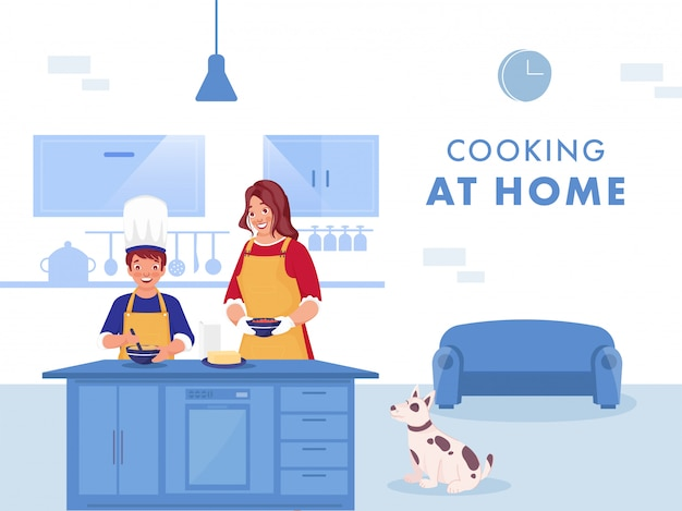 Ilustração de mulher ajudando seu filho a fazer comida em casa de cozinha e cão dos desenhos animados sentado sobre fundo azul e branco. evite o coronavírus.