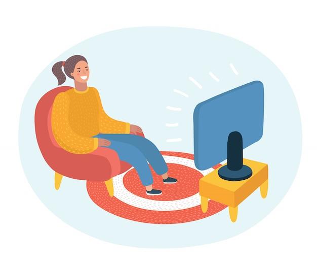 Ilustração de mulher assistindo televisão e sentada na cadeira, bebendo