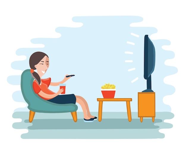 Ilustração de mulher assistindo televisão poltrona e sentada na cadeira, bebendo