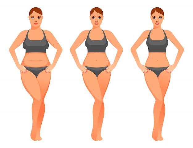 Ilustração de mulher bonita antes e depois da dieta