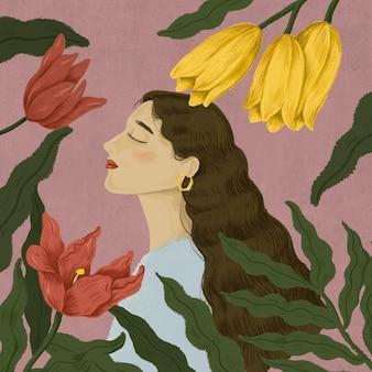 Ilustração de mulher bonita rodeada de natureza