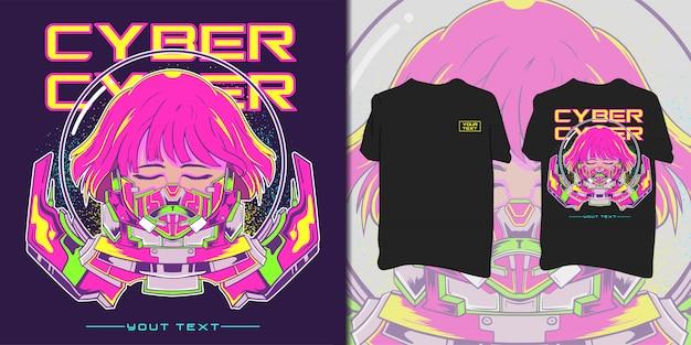 Ilustração de mulher ciber astronauta.