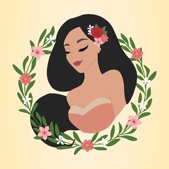 Ilustração de mulher com coroa de flores