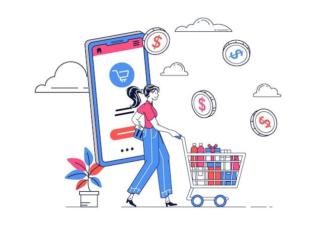 Ilustração de mulher comprando com telefone para promoção de banner