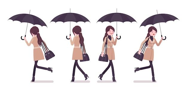 Ilustração de mulher correndo com guarda-chuva e vestindo roupas de outono