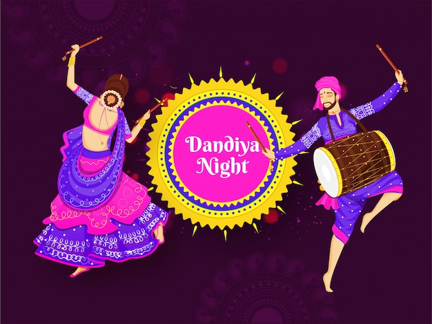 Ilustração de mulher dançando com dandiya stick e baterista