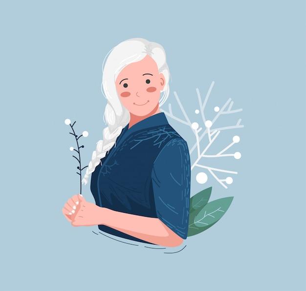Ilustração de mulher de cabelos brancos