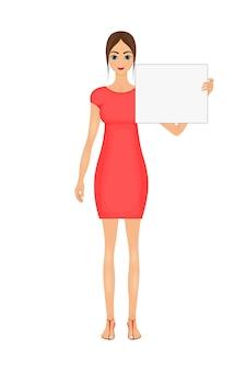 Ilustração de mulher de negócios bonito dos desenhos animados em um vestido vermelho com um sinal