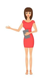 Ilustração de mulher de negócios bonito dos desenhos animados em um vestido vermelho com uma pasta