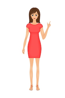 Ilustração de mulher de negócios bonito dos desenhos animados em um vestido vermelho