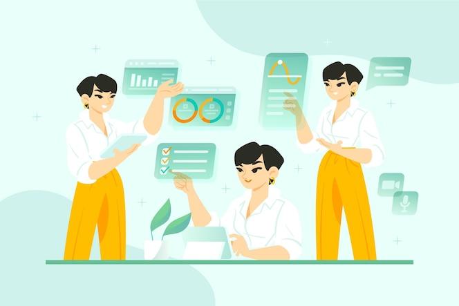 ilustração de mulher de negócios multitarefa desenhada à mão