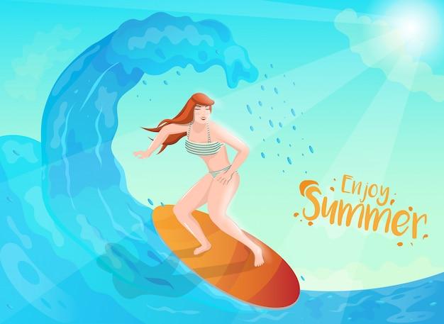 Ilustração de mulher de surfista, mergulho de água no fundo do sol