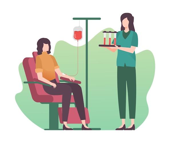 Ilustração de mulher doando sangue