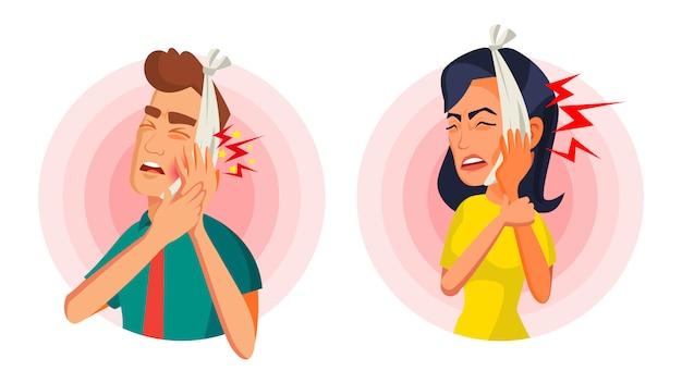 Ilustração de mulher e homem com dor de dente