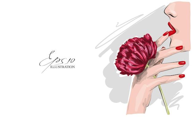 Ilustração de mulher e peônia na mão