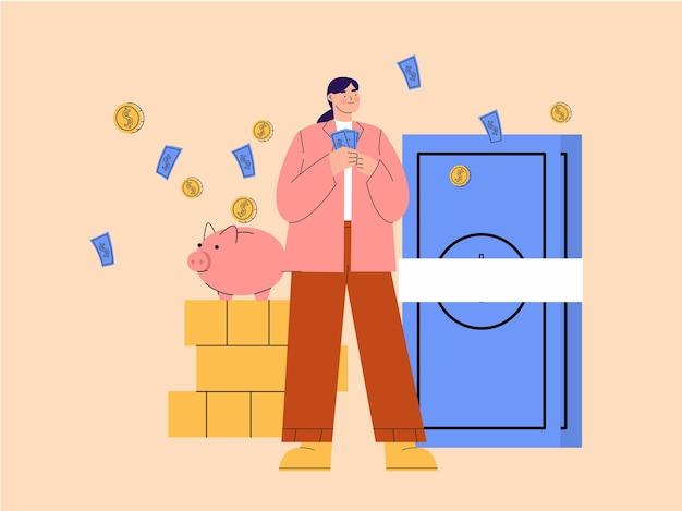 Ilustração de mulher economizando dinheiro no cofrinho e na caixa de segurança