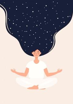 Ilustração de mulher está meditando na posição de lótus com estrelas
