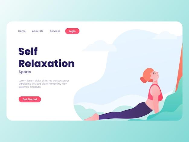 Ilustração de mulher fazendo ioga, auto-relaxamento com o conceito do site